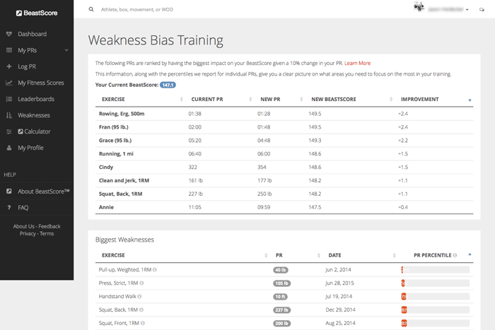 <span style='font-size:24px'>Weakness Bias Training</span><br />Identify your biggest weaknesses and see how your fitness scores are affected by improving them.